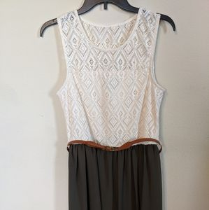 Dress cream lace and green